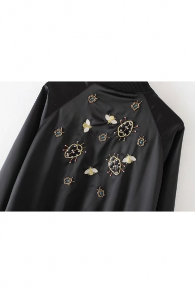 Up Sleeve Stand Zip Baseball Beetle Collar Long Up Jacket Beaded Fashion 8P6Cxqw