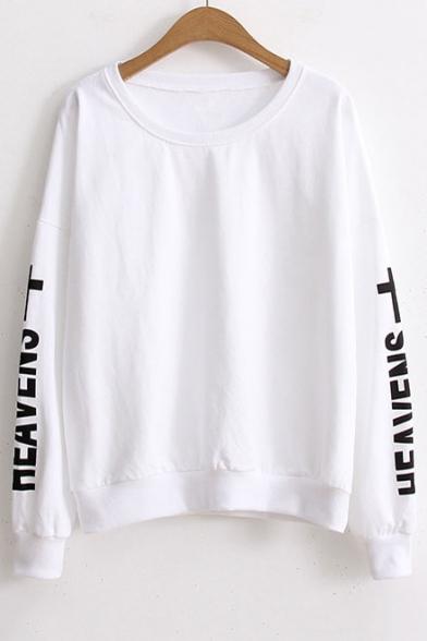 Fashion Comfort Printed Letter Round Neck Sweatshirt Sleeve Long Cotton xxOpqwafZ