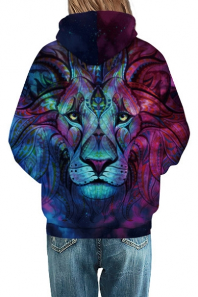 Fashion Lion 3D Printed Long Sleeve Color Block Hoodie Sweatshirt