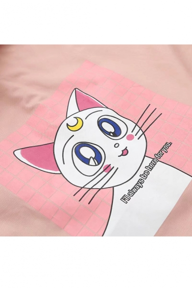 Lovely Cartoon Cat Pattern Back Hooded Long Sleeve Buttons Down Coat