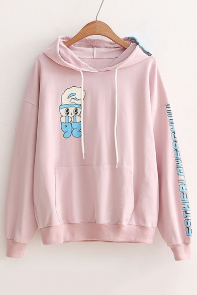Lovely Cartoon Rabbit Pattern Letter Long Sleeve Casual Loose Hoodie
