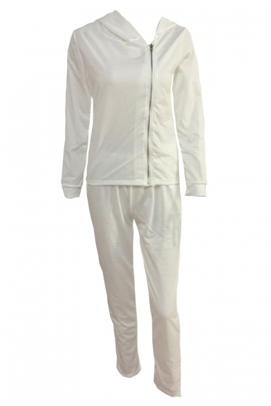 New Trendy Plain Hooded Long Sleeve Zip Up Coat with Loose Sports Pants