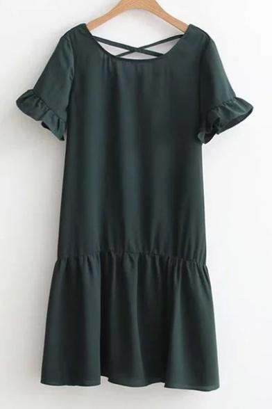 Neck Flounce Bodycon Short Sleeve Round Dresses Plain site naples