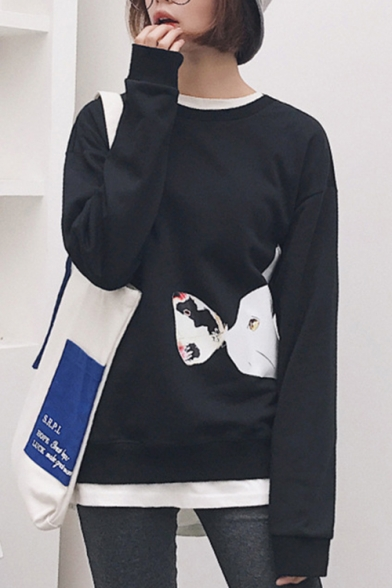 Cartoon Neck Long Sweatshirt Relaxed Cat Pattern Unisex Round Casual Sleeve HqHngrwxS