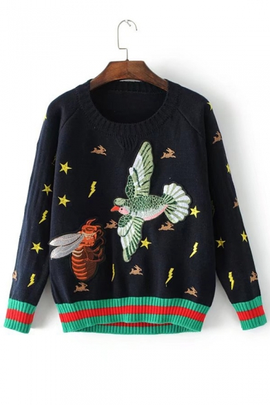 Neck Embroidered Bird Long Round Chic Sweater Pullover Bee Sleeve gAvwqcI