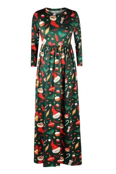Fashion Cartoon Digital Christmas Theme Pattern Long Sleeve Maxi Dress