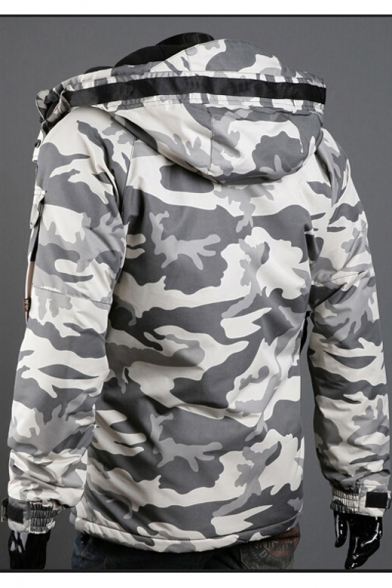 Hot Fashion Winter's Camouflage Pattern Hooded Long Sleeve Zip Up Coat