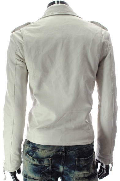 Notched Lapel Collar Long Sleeve Simple Plain Zip Up Side Biker Jacket