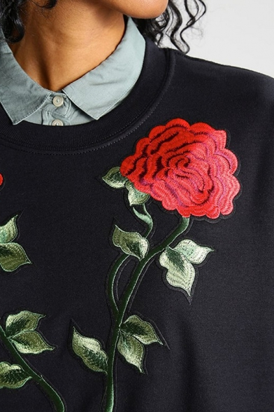 Rose Sleeve Sweatshirt Long Embroidered Round Neck SIwqXfcx5