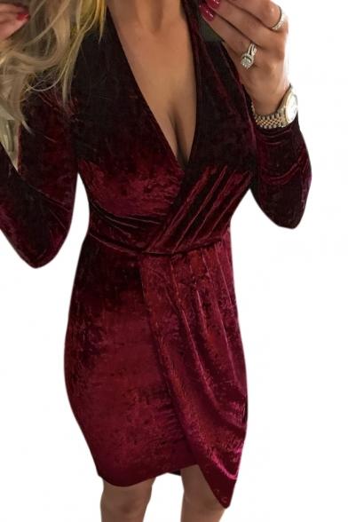 Sleeve Midi Sexy Hem Asymmetrical Dress Plain Velvet Wrap Neck Long Plunge ggqtCwP