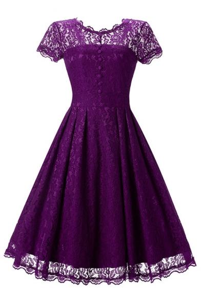 Basic Simple Plain Chic Lace Inserted Round Neck Short Sleeve Midi Flared Dress