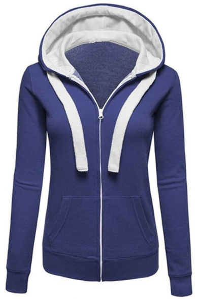 Basic Simple Plain Long Sleeve Leisure Zip Up Hoodie with Pockets, Black;green;red;gray;denim blue, LC450217