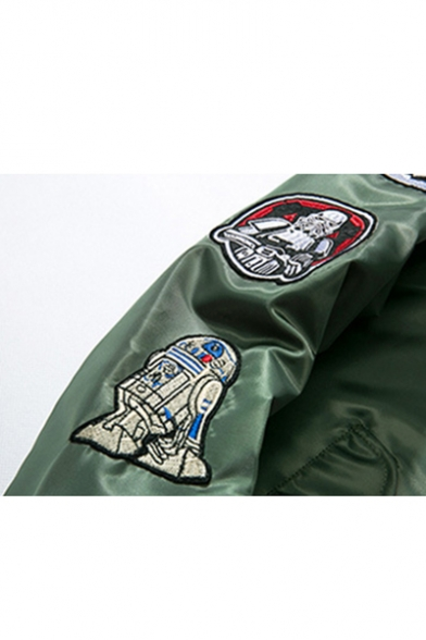 Casual Leisure Cartoon Letter Patched Stand-Up Collar Long Sleeve Zip Up Bomber Jacket