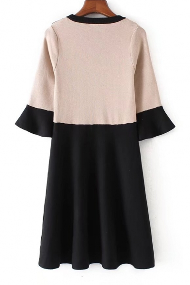 Fashion Color Block Layered Round Neck 3/4 Length Sleeve A-Line Knit Dress