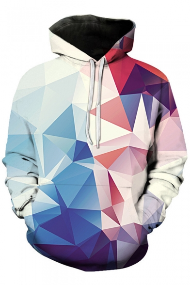 Fashion Digital Color Block Geometric Pattern Long Sleeve Sports Hoodie
