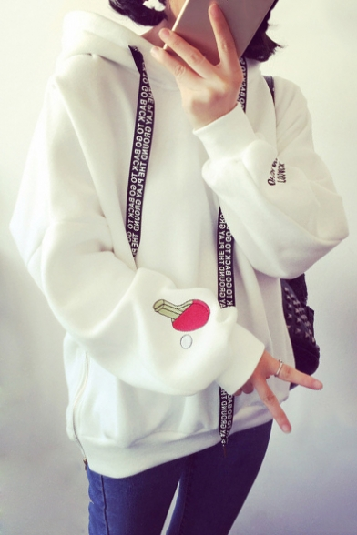Casual Sleeve Letter Loose Fashion Sports Long Ribbons Hoodie wPqPvI
