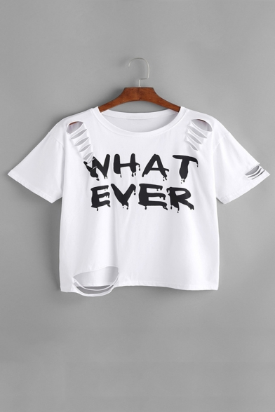 Fashion Ripped Out Letter Pattern Short Sleeve Round Neck Crop T-Shirt