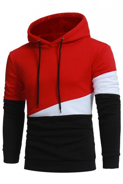 Hot Fashion Color Block Long Sleeve Casual Loose Hoodie