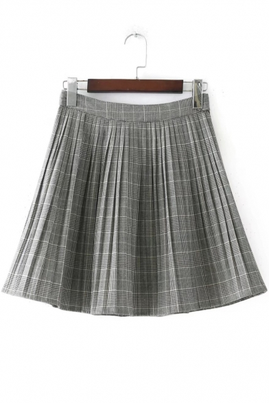 New Arrival Classic Plaids Print High Waist Mini A-Line Pleated Skirt