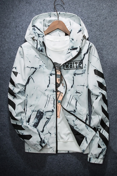 New Arrival Color Block Striped Printed Long Sleeve Hooded Zip Up Unisex Coat
