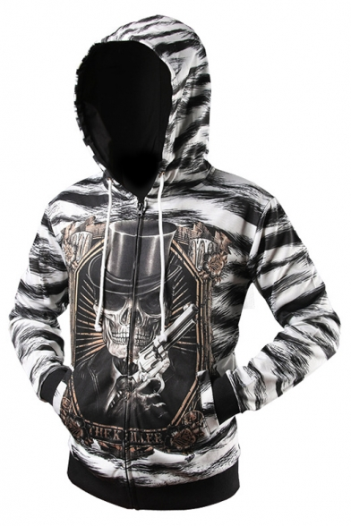Long with Arrival Zip Sleeve Pockets Digital Up New Skull Hoodie Pattern xIqP4ww