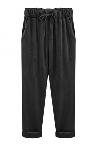 New Collection Simple Plain Drawstring Waist Casual Leisure Tapered Pants