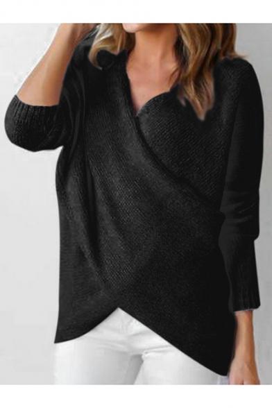 V-Neck Crisscross Front Long Sleeve Plain Pullover Sweater ...