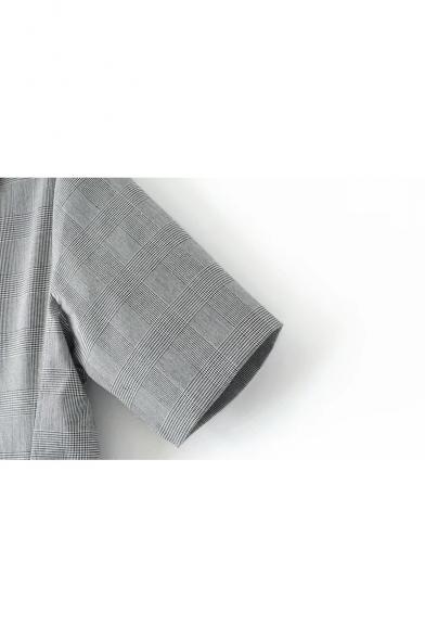 Color Block Collar Short Sleeve Plaids Printed Loose Leisure Midi A-Line Dress