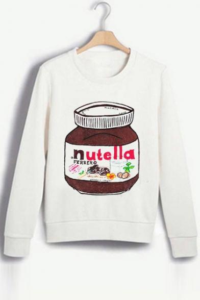 Fashion Cartoon Nutella Pattern Long Sleeve Round Neck Casual Sweatshirt