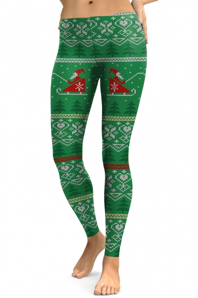 Fashion Christmas Santa Claus Pattern Leisure Sports Skinny Leggings
