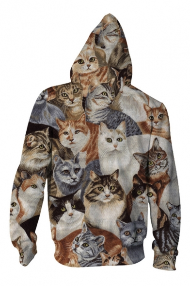 Fashion Of Long Digital Zip Up Printed Hoodie Cats Leisure Sleeve Casual Family xxTr7H