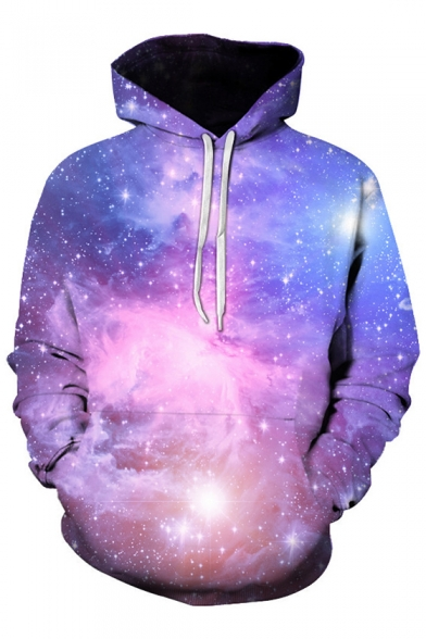 Hot Popular Chic Purple Galaxy Pattern Long Sleeve Casual Loose Hoodie