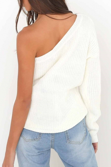Shoulder Sleeve One Fashion Plain Arrival Sweater Casual Long New Hot wqYItt7