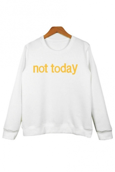 Arrival Sweatshirt Long Letter New Yellow Pattern Neck Pullover Round Sleeve wdzxf4Aq