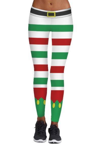 New Collection Christmas Striped Printed Elastic Waist Yoga Leggings