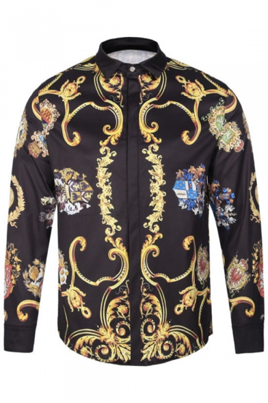 New Stylish Street Style Fashion Printed Lapel Collar Long Sleeve Shirt
