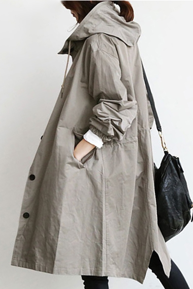 Plain Long Coat Hooded Down Button Trench with Sleeve Pockets Oversize vwTv7Rpqx