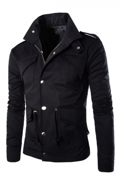 Simple Plain Stand-Up Collar Long Sleeve Multi Pockets Embellished Zip Up Coat