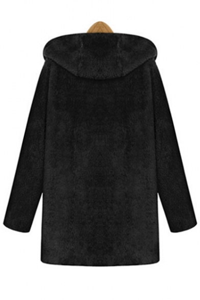 New Warm Plain Hooded Winter's with Simple Fur Pockets Double Fashion Coat EqxwxdCH