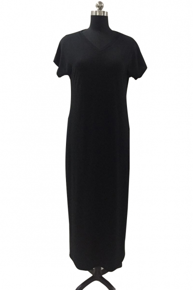 Casual Short Sleeve V Neck Split Sides Plain Maxi Dress with Pockets