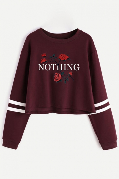 Neck Pattern Letter Sports Chic Sleeve Round Floral Leisure Cropped Sweatshirt Long YEEwq5