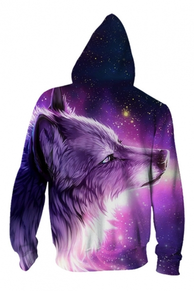 Digital Galaxy Wolf Pattern Casual Oversize Long Sleeve Zip Up Hoodie with Pockets