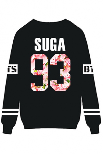 Fashion Floral Letter Printed Long Sleeve Round Neck Pullover Sweatshirt