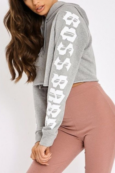 Sexy Pattern Letter Hot Long Hoodie Sports Sleeve Cropped Casual Popular E05q5f