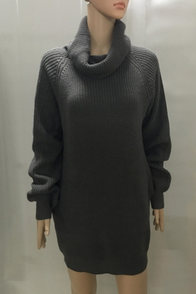 New Arrival Fashion Turtle Neck Long Sleeve Plain Tunic Sweater with Pockets