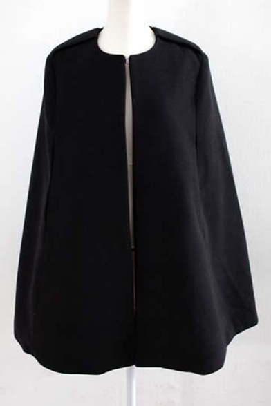 New Fashion Round Neck Split Front Plain Woolen Cape