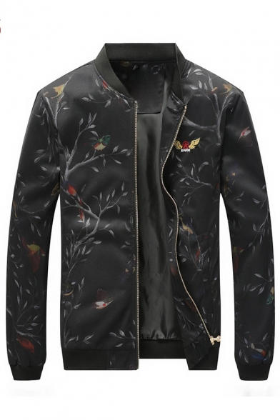 Retro Up Pattern Bird Zip Long Sleeve Stand Jacket Up Tree Collar TBTfr