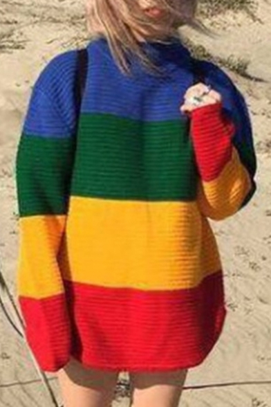 Street Style Fashion Color Block Loose Oversize Mock Neck Long Sleeve Sweater