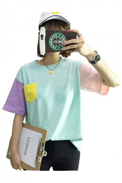 Loose T Neck Chic Color Summer's Sleeve Short for Shirt Round Block Friends O071Sq