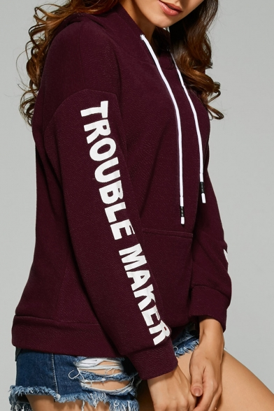 Hoodie Pockets Comfort Sleeve Simple Letter Casual Basic with Pattern Long Z70Pqnwf6